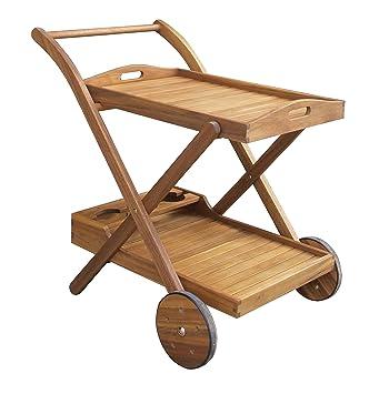 benelando té carro/Camarera de madera de acacia con bandeja separable: Amazon.es: Jardín