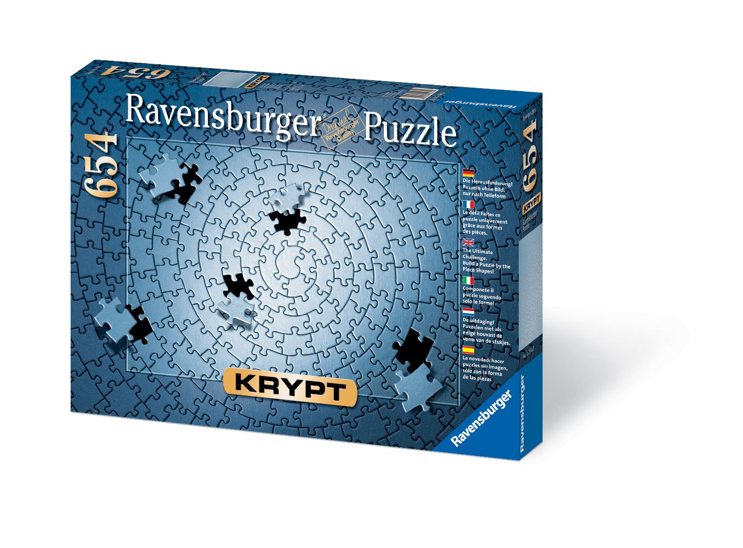 Ravensburger Krypt Silver 654 Piece Blank Jigsaw Puzzle Challenge for Adults – Every Piece is Unique, Softclick Technology Means Pieces Fit Together Perfectly