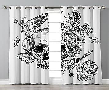 Amazoncom Iprint Stylish Window Curtainsblack And Whitedead