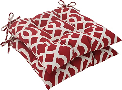 Pillow Perfect Outdoor New Geo Tufted Seat Cushion, Red, Set of 2