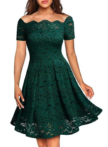6878249a3adf4 MIUSOL Vintage Pizzo Una Spalla Vestito da Sera Donna Corta  Amazon.it   Abbigliamento