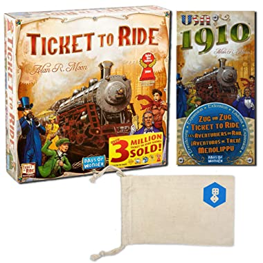 Days of Wonder's Ticket to Ride and Ticket to Ride: USA 1910 Expansion Bundle | Includes Convenient Drawstring Storage Pouch with Game Players Logo Printed