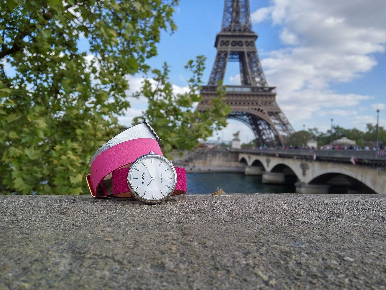 Moog Paris Mignon Reloj para Mujer con Esfera Negra, Correa Negra de Jeans - M41681-C21: Amazon.es: Relojes