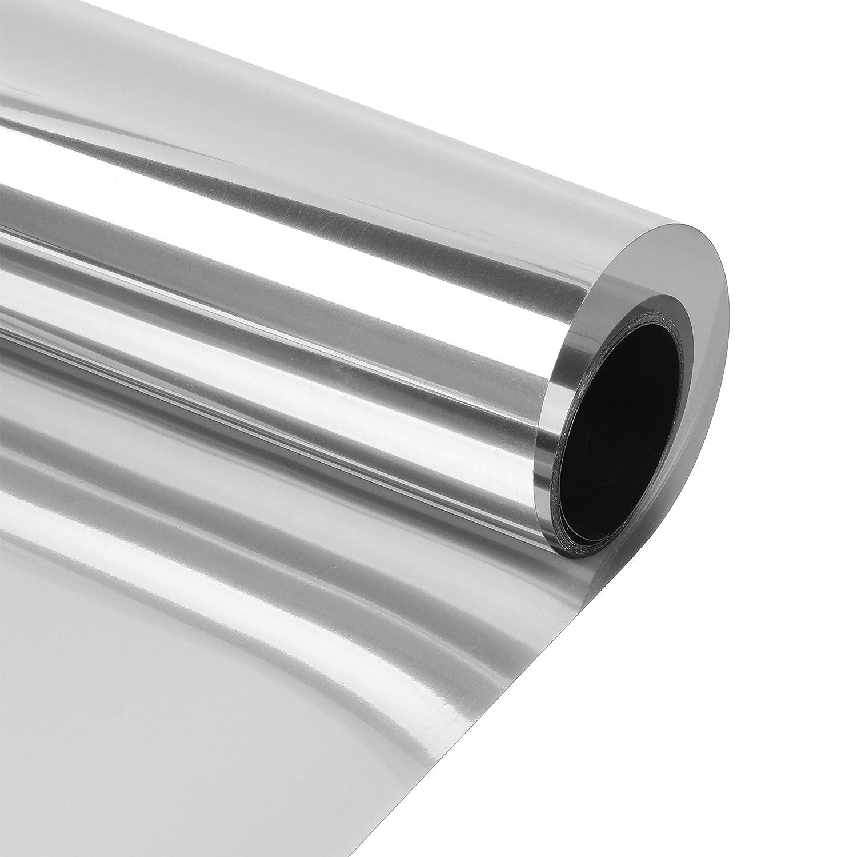 つや消しプライバシーウィンドウフィルム: Large Static Cling Film forホームセキュリティ、デコレーションProfessional不透明Stained Glass Effect – 半透明、残留物フリー、取り外し簡単 17.5 x 80 inches シルバー B0776JBRQR  Heat Control 17.5 x 80 inches