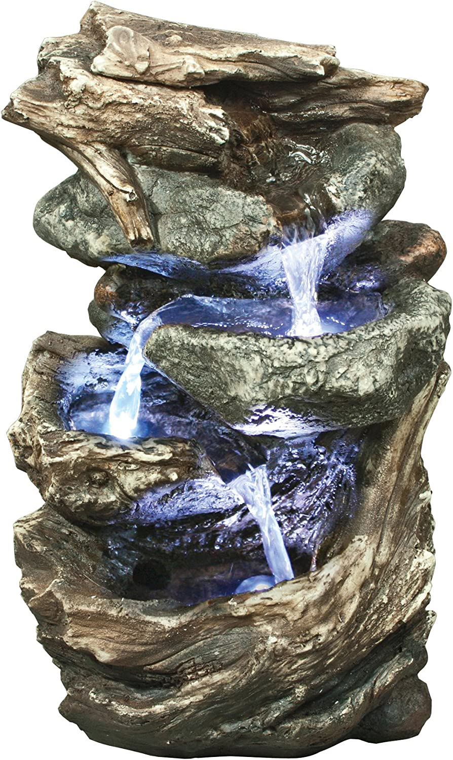 LED Lights Included Realistic Hand Crafted Design Pump Included. Easy to Set Up Calming Waterfall Feature Great for Gardens and Patios Alexander Log Fountain