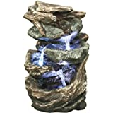 Water Fountain with LED Light - Glacier Peak Garden Decor Tabletop Fountain - Desk Fountain Water Feature