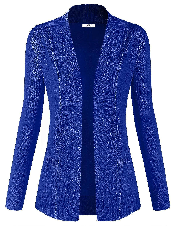 JJ Perfection Women's Open Front Knit Long Sleeve Pockets Sweater ...