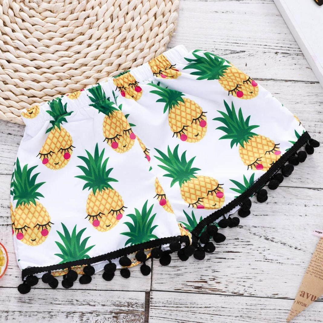 Willsa Toddler Girls Clothes Cotton Sleeveless Letter Print Tassel Tops Vest+Cute Pineapple Shorts Sets