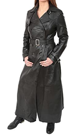 234f3fff83e Ladies Full Length Leather Double Breasted Reefer Trench Coat Sharon Black  (X-Small)