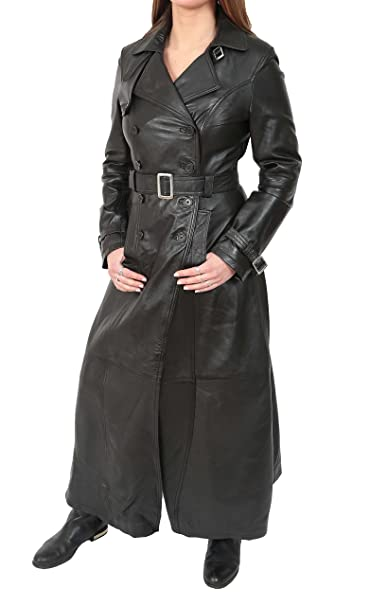 limited price strong packing great variety styles Ladies Full Length Leather Double Breasted Reefer Trench Coat Sharon Black