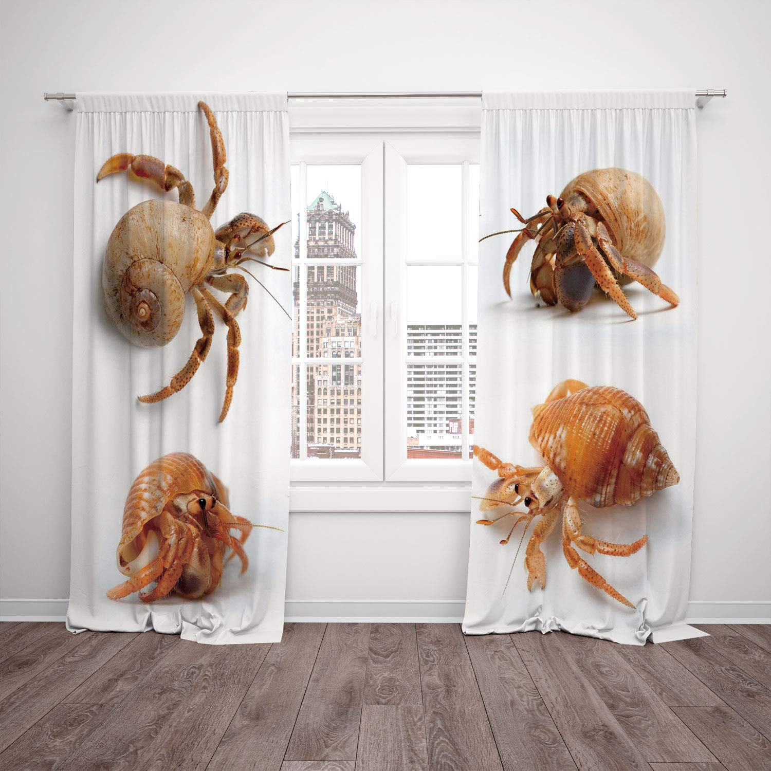 Thermal Insulated Blackout Window Curtain Crabs Decor Sea Animals Theme Set Of Hermit Crabs From Caribbean Sea Digital Print Marigold And White Living Room Bedroom Kitchen Cafe Window Drapes 2 Panel S Amazon In Home Kitchen