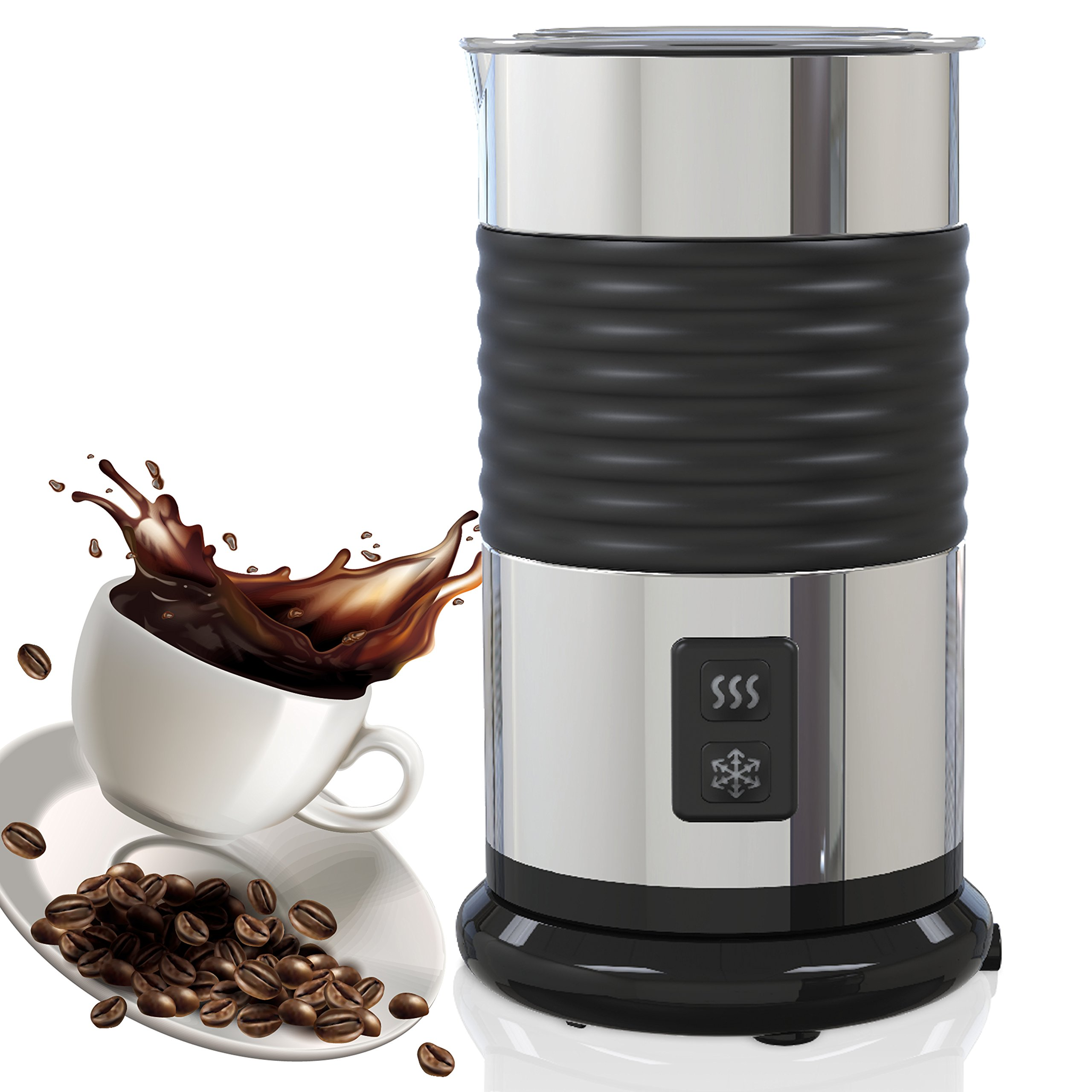 Automatic Milk Frother And Warmer – Stainless Steel Insulated Foamer For Hot & Cold Coffee Beverages, Quick And Easy To Use, Silent Operation, Cordless Pitcher For Pouring & Serving Cappuccino & Latte