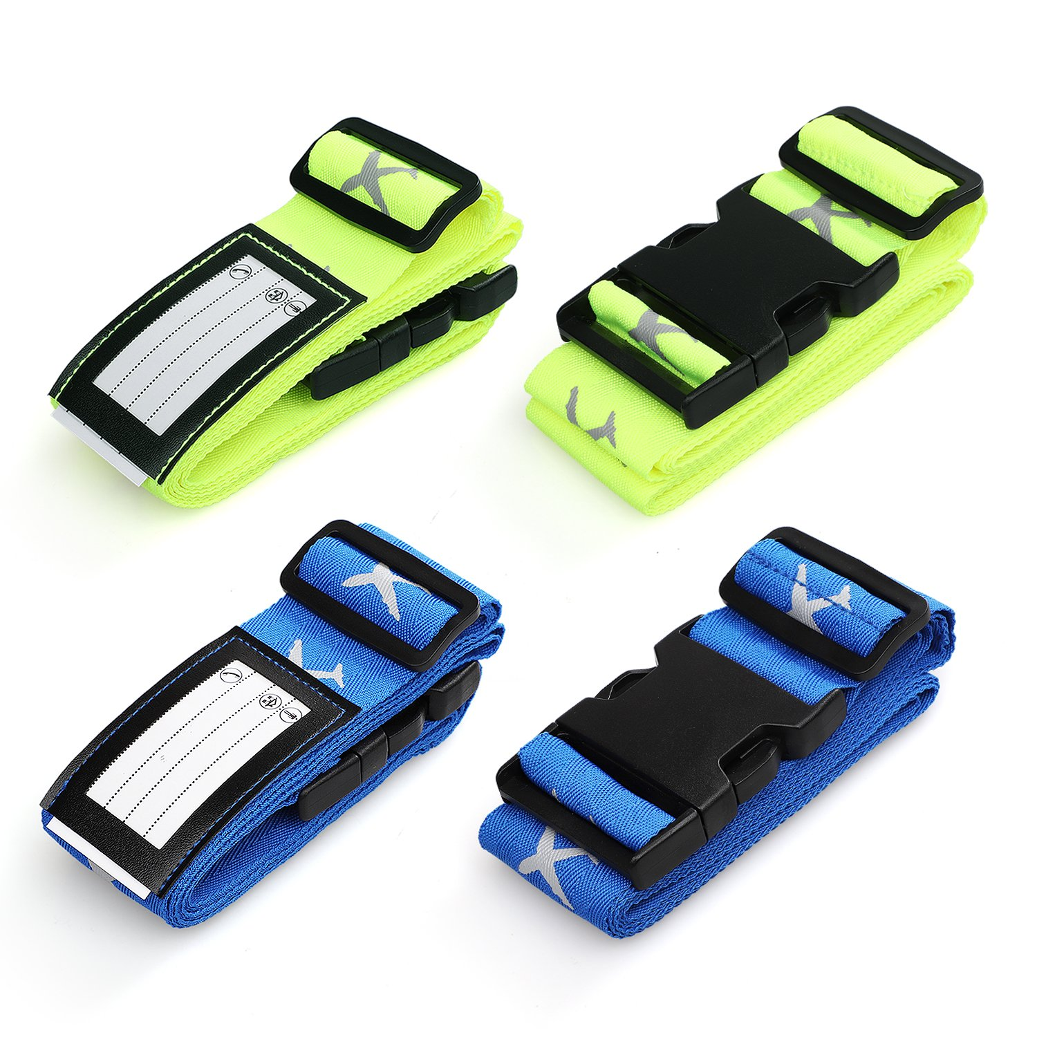 Swify Luggage Strap Suitcase Belt Elastic Travel Luggage Straps TSA Approved Accessories with Name Tags(4 Pack)