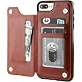 iPhone 7 Plus iPhone 8 Plus Wallet Case with Card Holder,OT ONETOP Premium PU Leather Kickstand Card Slots Case,Double Magnet