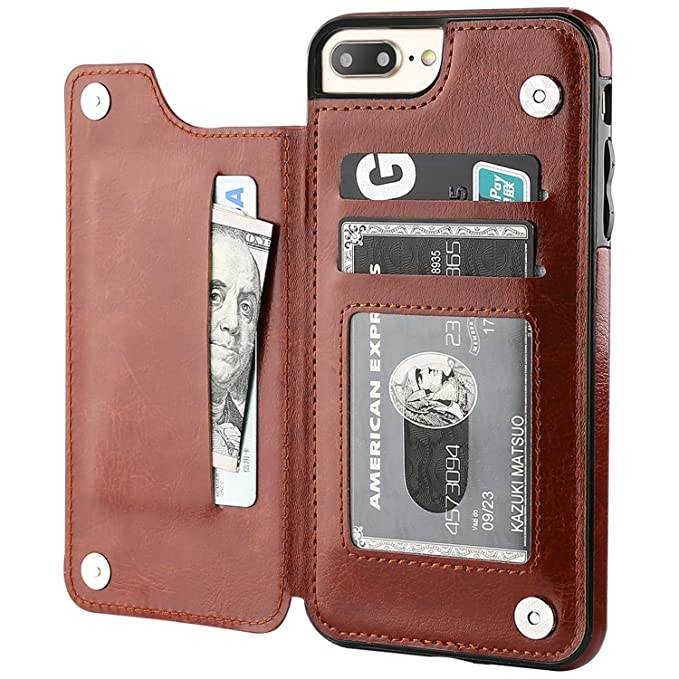 Ot Onetop I Phone 7 Plus I Phone 8 Plus Wallet Case With Card Holder, Premium Pu Leather Kickstand Card Slots Case,Double Magnetic Clasp And Durable Shockproof Cover 5.5 Inch(Brown) by Ot Onetop