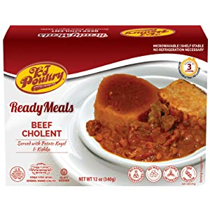 Kosher Mre Meat Meals Ready to Eat, Beef Cholent & Potato Kugel (1 Pack) - Prepared Entree Fully Cooked, Shelf Stable Microwave Dinner – Travel, Military, Camping, Emergency Survival Canned Food