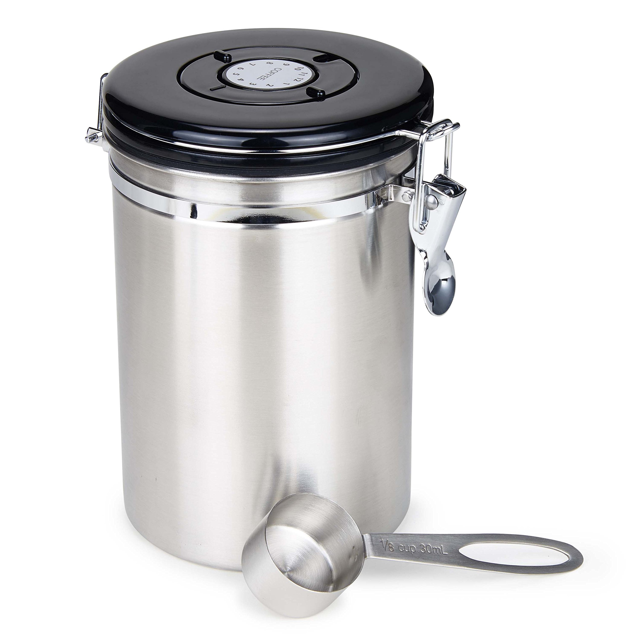 Moldiy Airtight Coffee Container, Stainless Steel Coffee Canister 21 oz with Scoop and CO2 Valve, Brushed Nickle Finshed