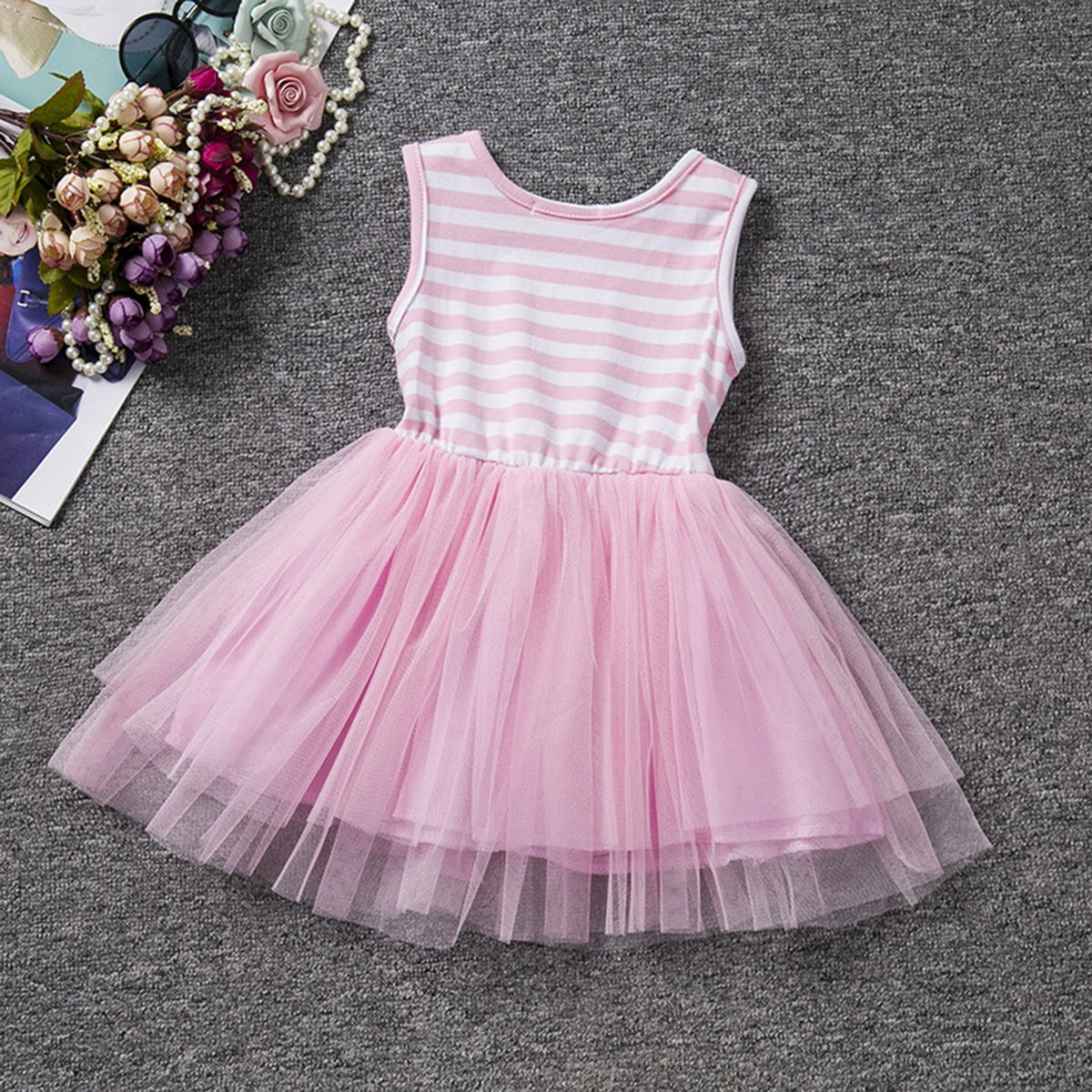 Little Baby Girl Shinny Stripe 1st//2nd Birthday Cake Smash Sleeveless Crown Printed Tulle Tutu Party Outfit Dress