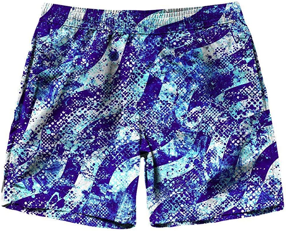On Cue Apparel Abstract Blue Waves Shorts