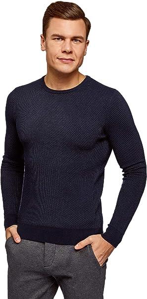 TALLA L. oodji Ultra Hombre Jersey Básico de Punto Texturizado