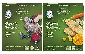 Gerber Organic Teethers Variety Pack, 1 Mango Banana Carrot, 1 Blueberry Apple Beet, 48 wafers