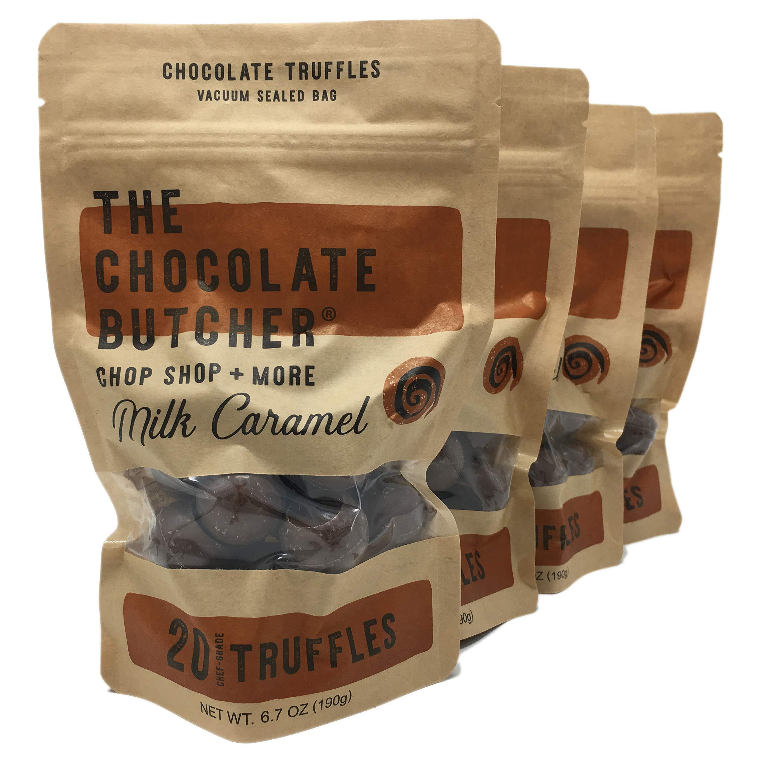 Chef-Grade Caramel Milk Chocolate Truffles (Four Bags-80 Truffles) by The Chocolate Butcher
