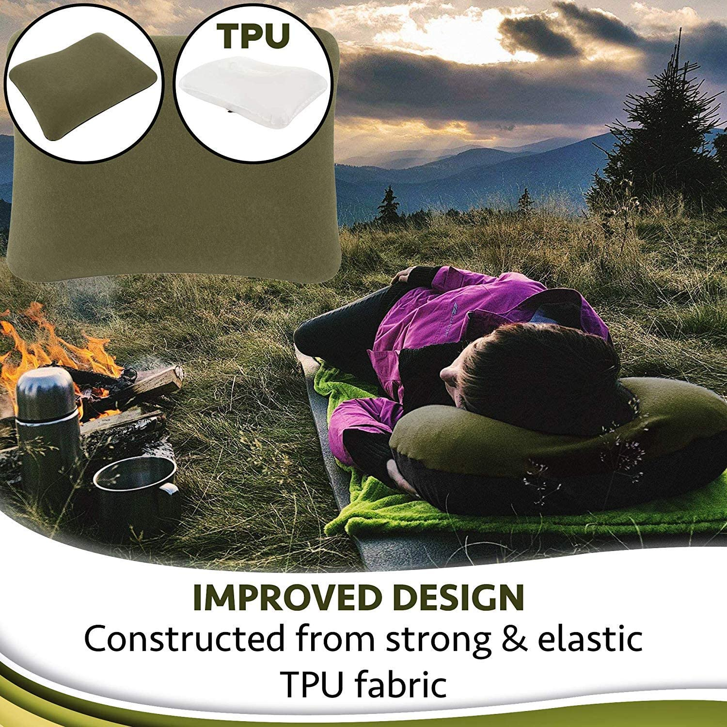 Inflatable Camping Travel Pillow Ultralight Lightweight Inflating Blow Up Pillow Portable Air Pillow for Backpack Camp Exped Travelling Hiking Survival Sleeping Best Compact Backpacking Pillow