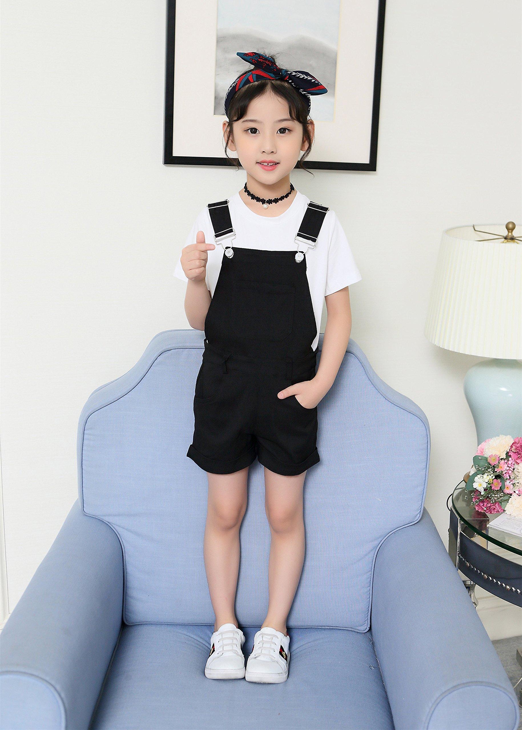 Sitmptol Big Girls Kids Cotton Overalls Jumpsuits Casual Shortalls Bib Romper Black 160 by Sitmptol (Image #3)