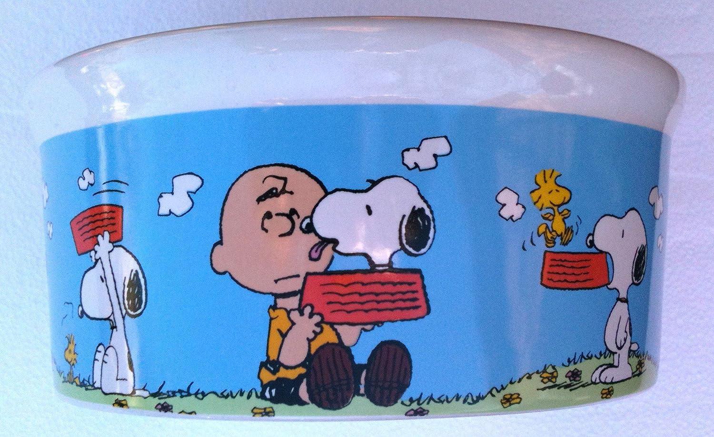 Peanuts CHARLIE BROWN, SNOOPY & WOODSTOCK Dog Food Bowl Heavy Duty Pet Dish (7