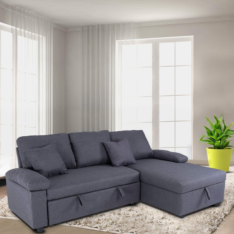 Amazon.com GOOD & GRACIOUS Sectional Sleeper Sofa Couch ...