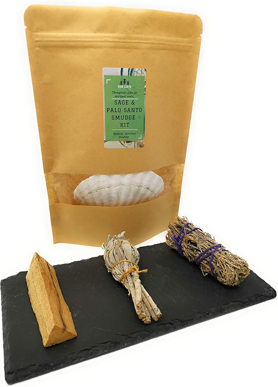 Mini Bianco Salvia WHITE CONCHIGLIA SHELL PALO SANTO E PIUMA Kit di pulizia