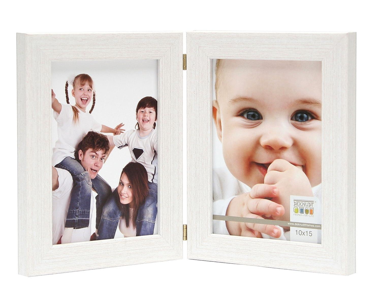 Deknudt Frames S41VF1-H2V-15.0X20.0 Bilderrahmen, Kunstharz, aufklappbar, fü r 2 Fotos, Hochformat, 24,6 x 19,6 x 1,6 cm, Weiß