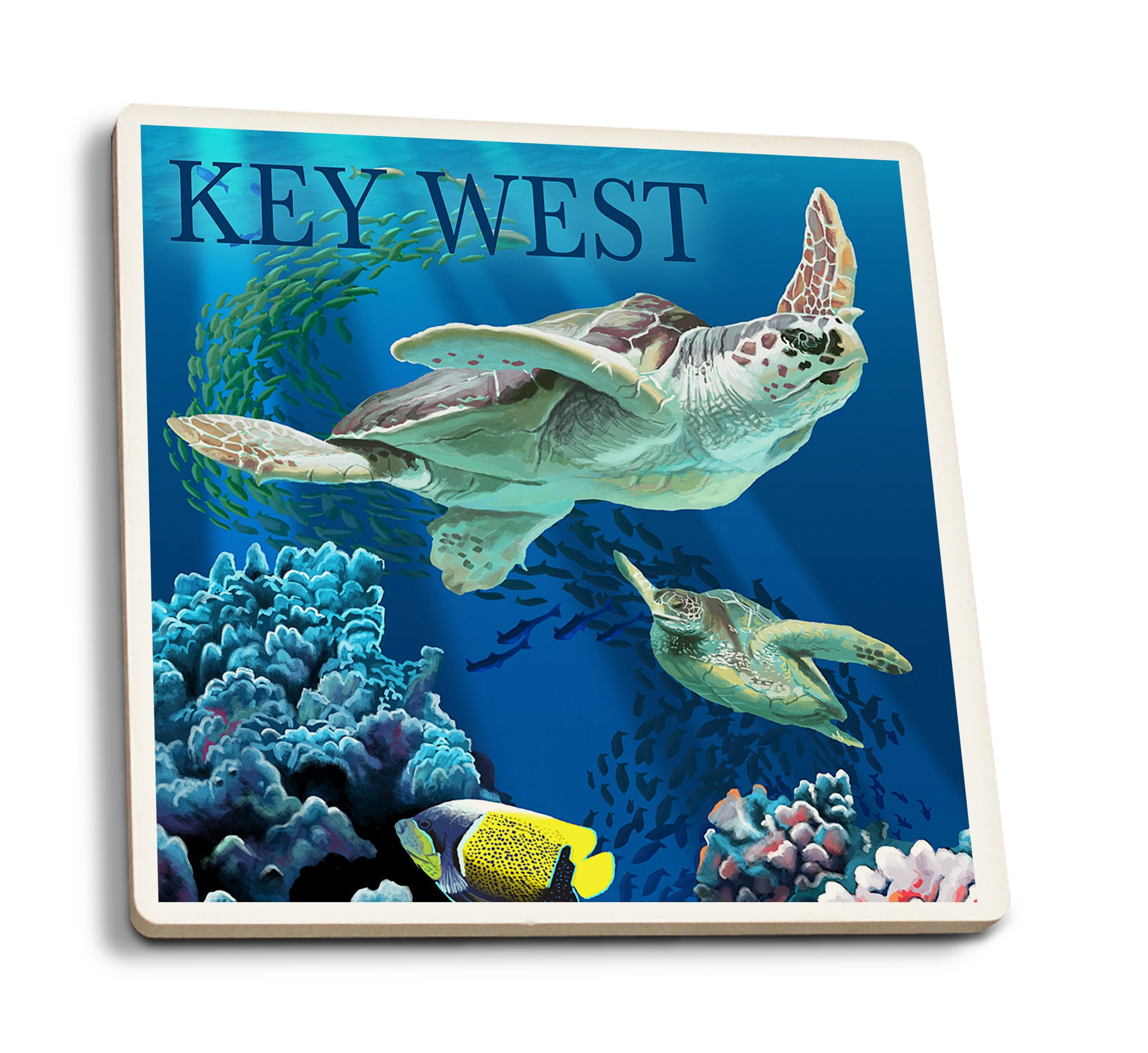 Lantern Press Key West, Florida - Sea Turtles (Set of 4 Ceramic Coasters - Cork-Backed, Absorbent) by Lantern Press