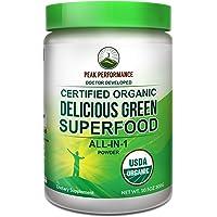 Peak Performance Organic Greens Superfood Powder. Best Tasting Organic Green Juice Super Food with 25+ All Natural Ingredients for Max Energy & Detox. Spirulina, Spinach, Kale, Turmeric Probiotics
