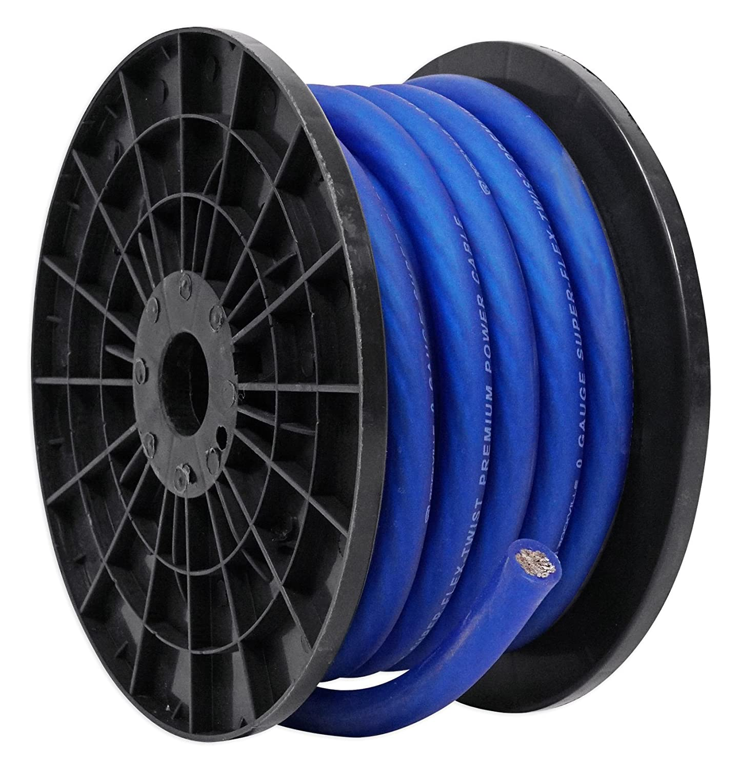 Rockville R14G125MS-BL Blue 100 Foot Spool Marine/Boat Waterproof 14 AWG Speaker Wire Audiosavings R14G100MS-BL
