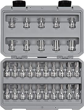 36-Piece | SKT15402 T10-T60, TR10-TR60, E4-E20 TEKTON 3//8 Inch Drive Torx//TR Torx Bit /& External Star Socket Set