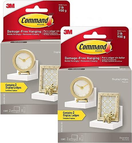 Command Display Ledges, Slate, 2-Ledges, 8-Medium Foam Strips 2 Count 4-Inches, Quartz