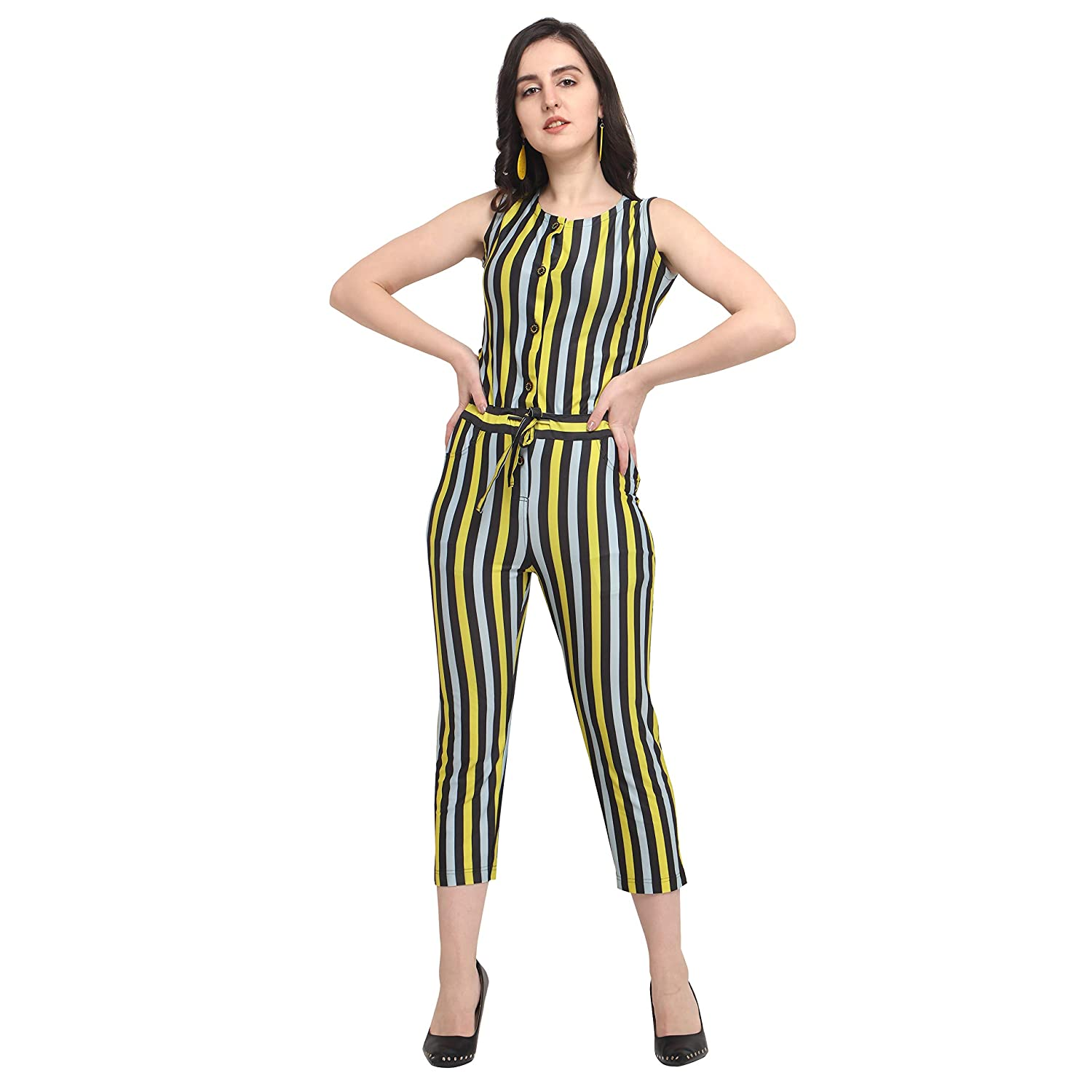 2d1a396b5992 DJ-Sky Yellow Strip Print Jumpsuits: Amazon.in: Clothing & Accessories