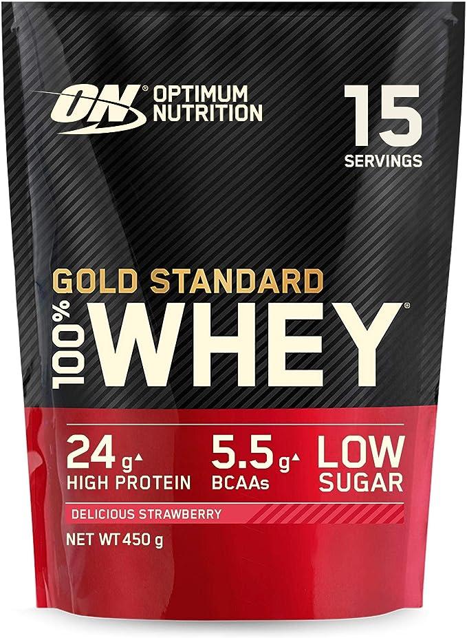 Optimum Nutrition Gold Standard 100% Whey Proteína en Polvo, Glutamina y Aminoácidos Naturales, BCAA, Fresa Deliciosa, 15 Porciones, 450g, Embalaje ...