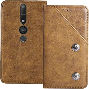 YLYT Shockproof - Brown Flip Leather TPU Silicone Retro Cover with Stand Wallet Case for Lenovo Phab 2 Pro 6.4 inch with Card Slots