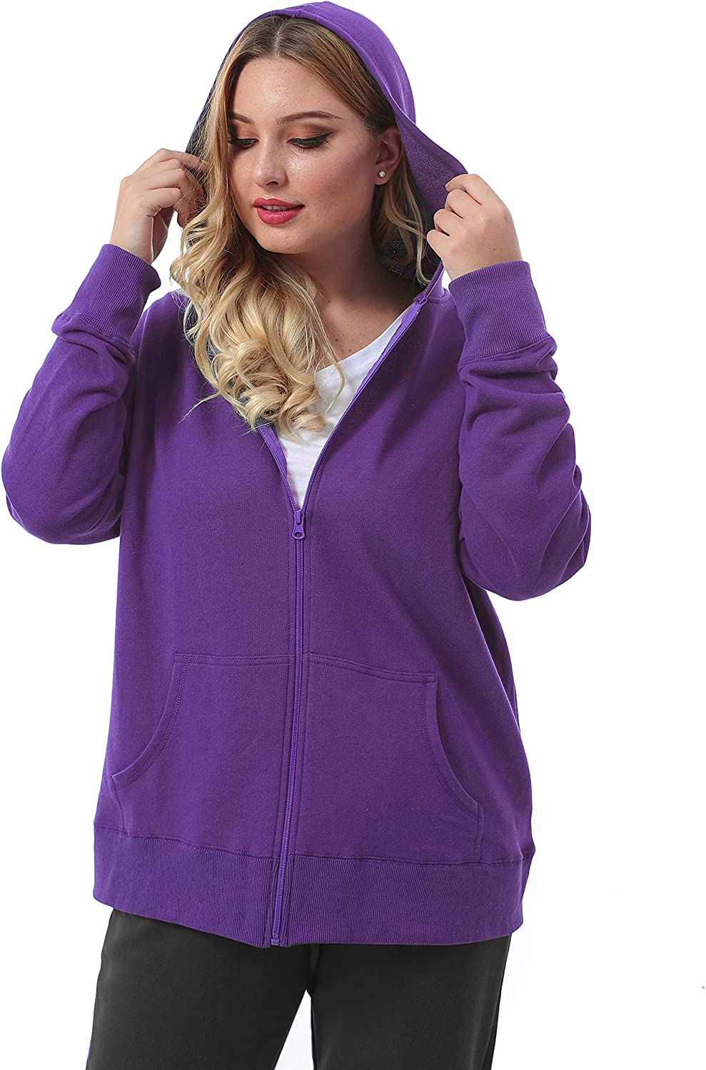 ZERDOCEAN Womens Plus Size Full Zip-Up Hoodie Jacket Cotton Sweatshirt