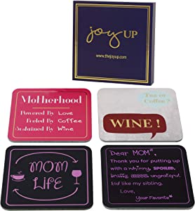 Set of 4 Multifunctional Stylish & Funny Drink Coasters | Double-Sided Refrigerator & Bar Décor | Magnetic Dry Erase Notepads with Inspirational Messages | Unique gift for Mom