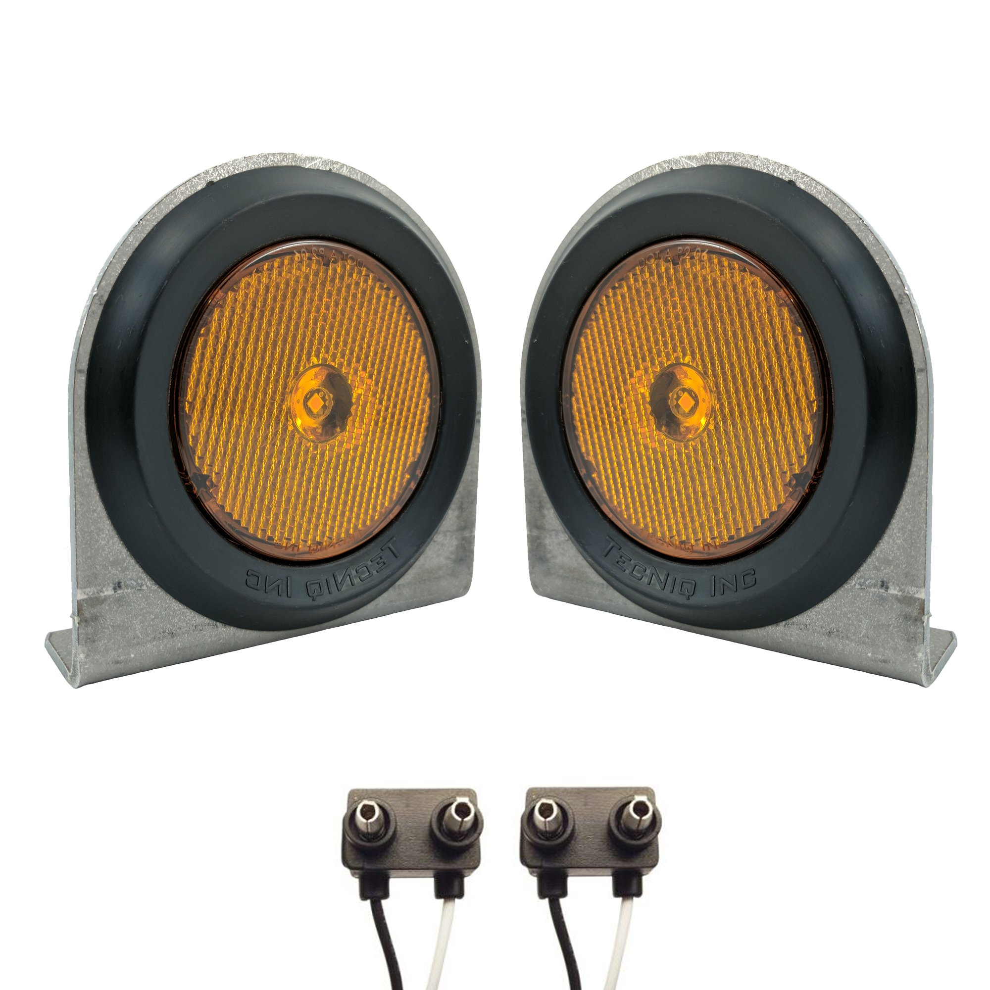 Pair of LED Low-Profile 2.5'' AMBER Side Markers - LED Light Kit w/ Steel Mounting Brackets, Wire Plugs, & Grommets - LED Trailer Truck RV Lights (2.5'' Round LED, Amber)