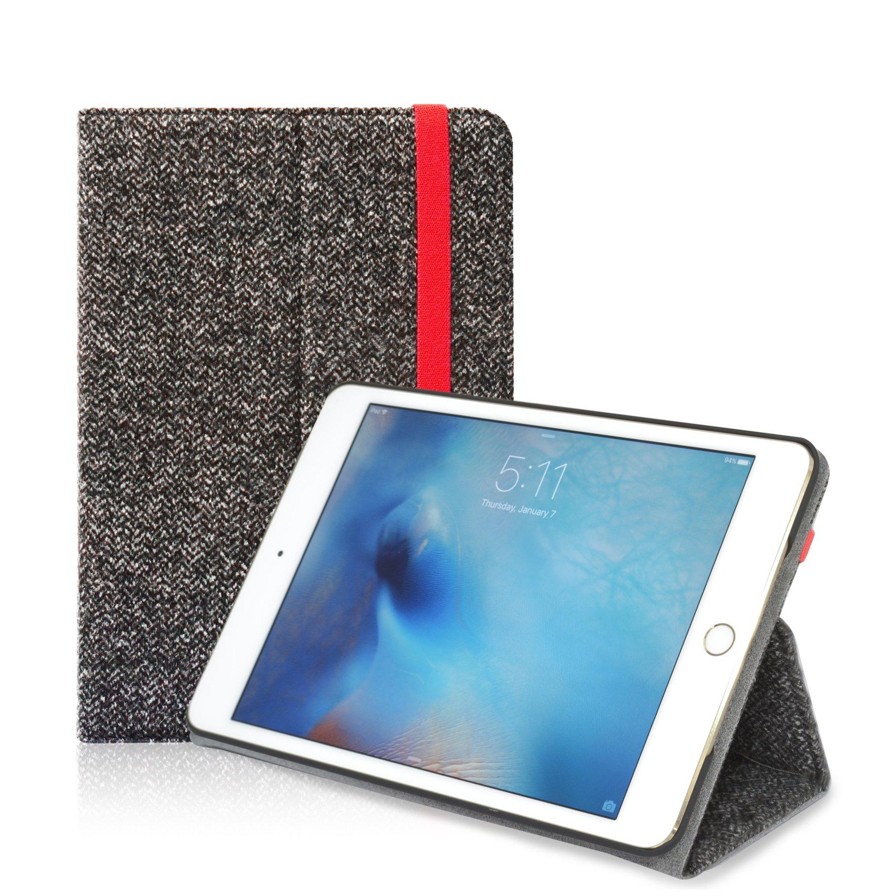 Araree iPad mini 4 Case, [Neat Diary] Slim Fit Premium Fabric Folio Stand Smart Cover Case with elastic band for iPad mini 4 (2016) (Herringbone)