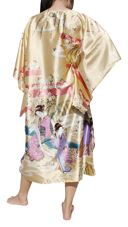 Full Funk Chinese Silk Throw Over Kaftan Dress or Night Gown Japan Geisha