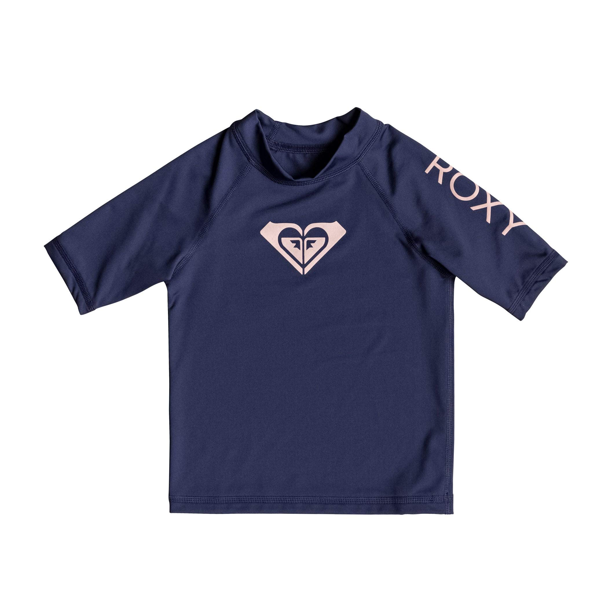 Roxy Whole Hearted Short Sleeve Girls Rash Vest Age 3 Medieval Blue by Roxy