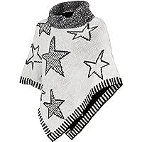DANAEST Poncho de punto con cuello alto, capa de invierno con estrellas (567)