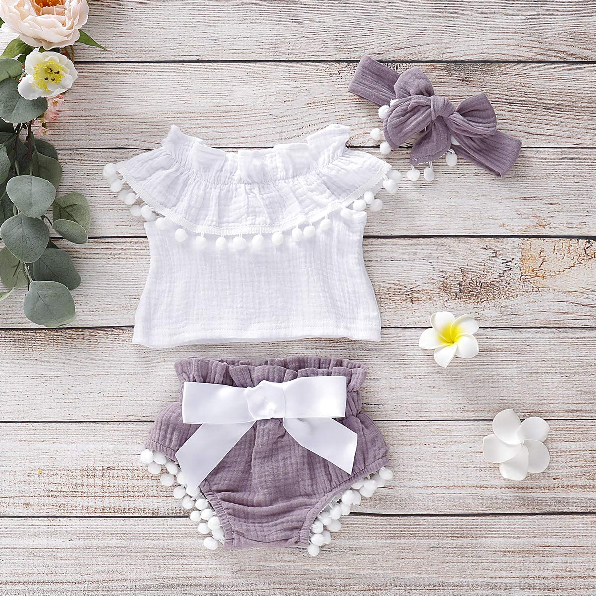 MetCuento Baby Girls Clothes Ruffle Sleeve T-Shirt Tops Short Pants Casual Playwear 2Pcs Toddler Summer Outfit Sets