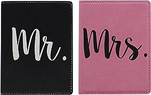 Wedding Gifts Mr Mrs Passport Cover 2-pack Engraved Leatherette Passport Holders Pink & Black Bundle