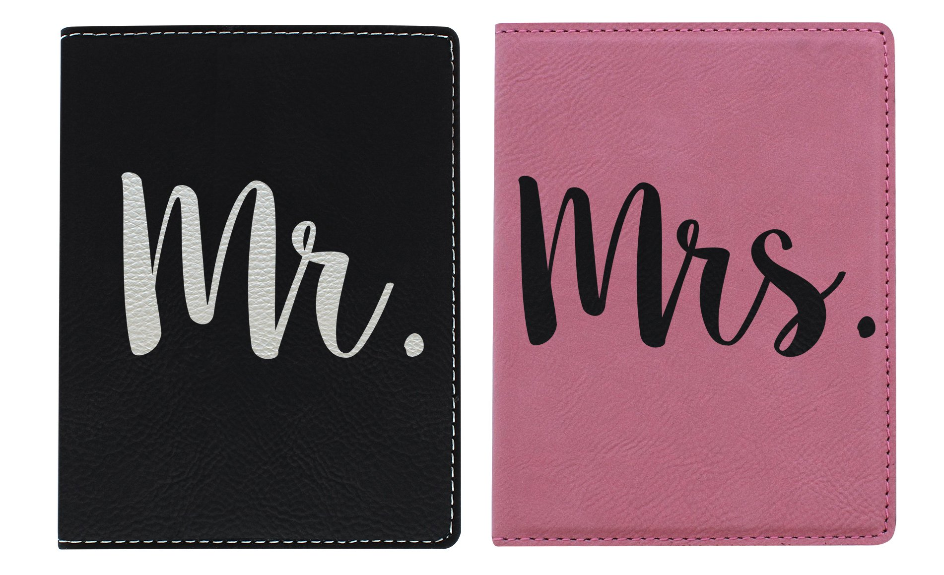 Wedding Gifts Mr Mrs Passport Cover 2-pack Engraved Leather Passport Holders Pink & Black Bundle